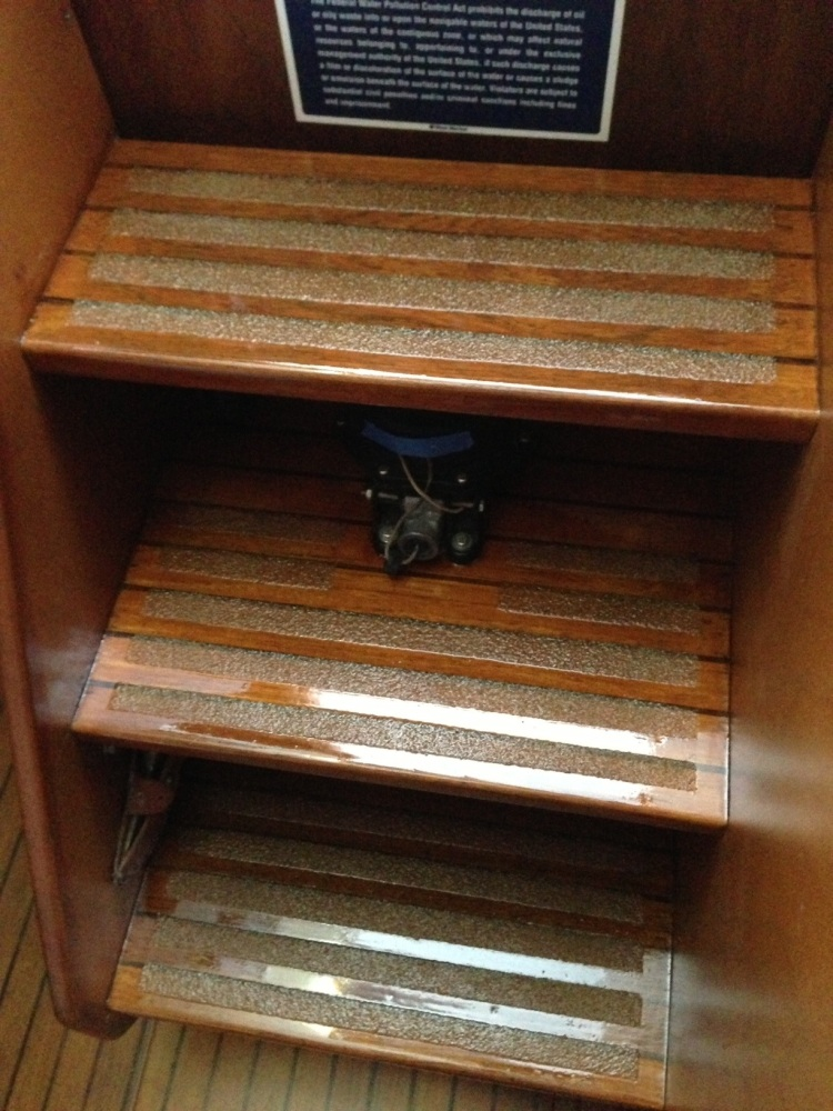 New Clear Stair Treads and Companionway Varnish (Ohh La-La!!!)